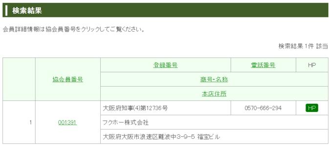 日本貸金業協会サイトで検索した結果、消費者金融フクホーは正規の貸金業者であることが判明