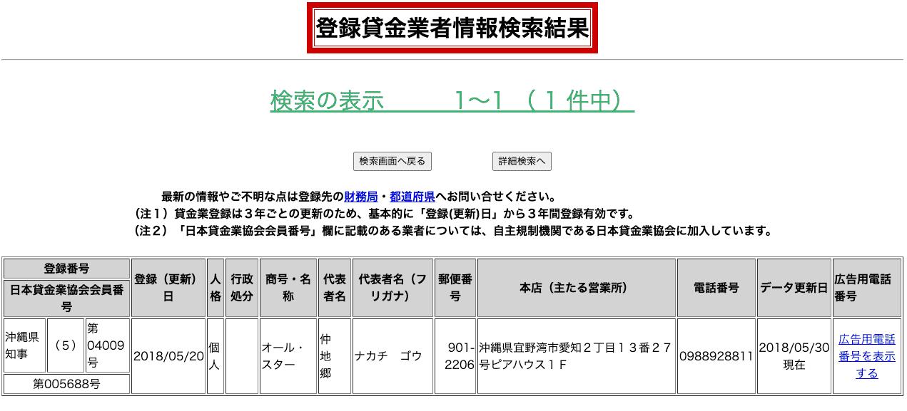 沖縄金融オールスター(登録貸金業者情報検索結果)