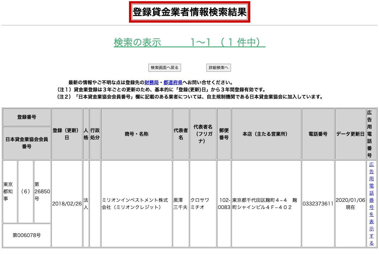ミリオンインベストメント(登録貸金業者情報検索結果)