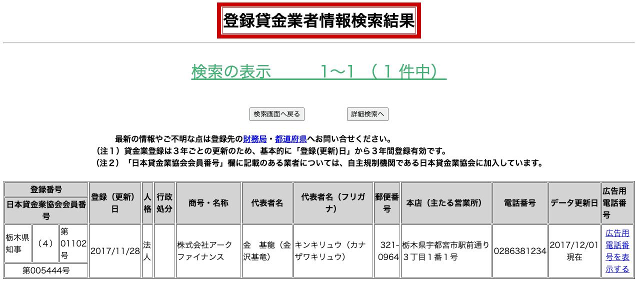 アークファイナンス(登録貸金業者情報検索結果)