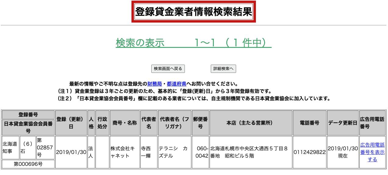 北海道キャネット(登録貸金業者情報検索結果)