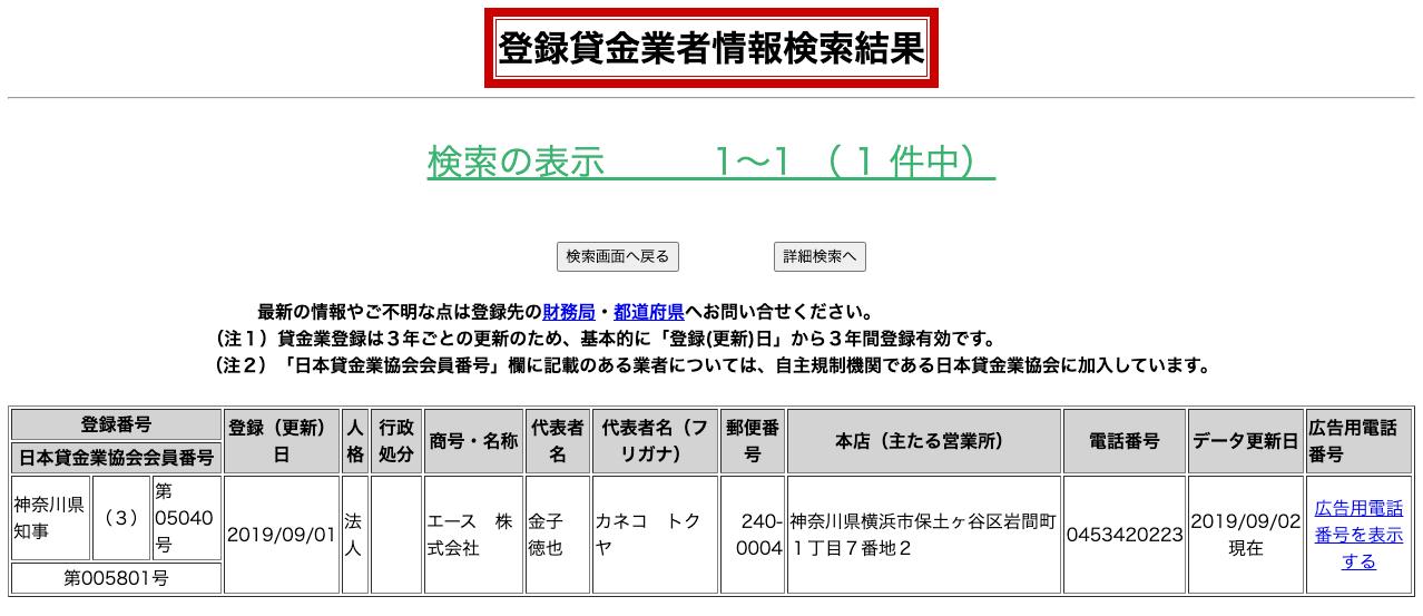 エース株式会社(登録貸金業者情報検索結果)