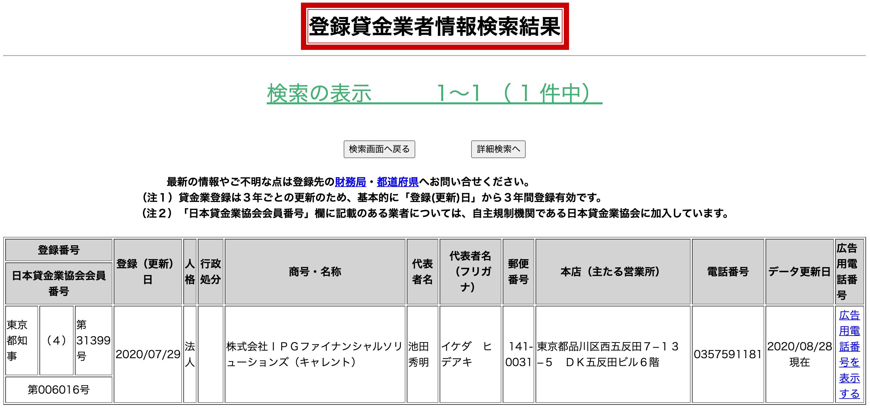 キャレント(登録貸金業者情報検索結果)