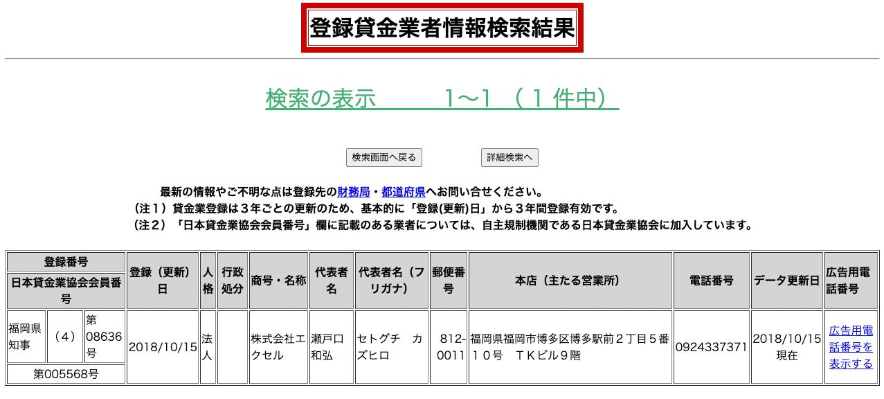 エクセル株式会社(登録貸金業者情報検索結果)